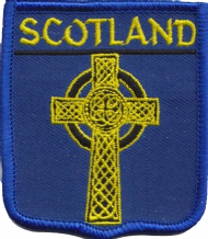 Scotland Celtic Cross Embroidered Badge (a368)